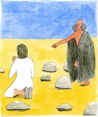 Der Teufel versucht, dass Jesus aufhört zu beten.
