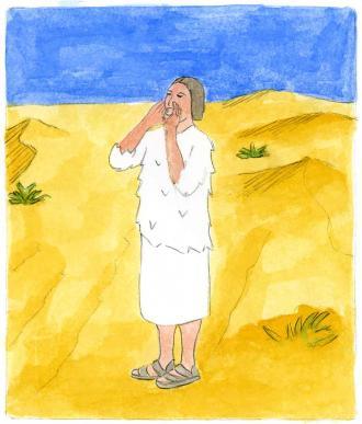 Ein Mann in der Wüste ruft, dass Gott kommt.