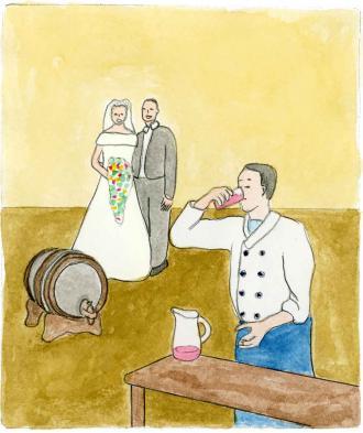 Jesus verwandelt Wasser in Wein.