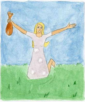 Die Frau, die sich freut, weil sie ihr Geld wiederfindet.