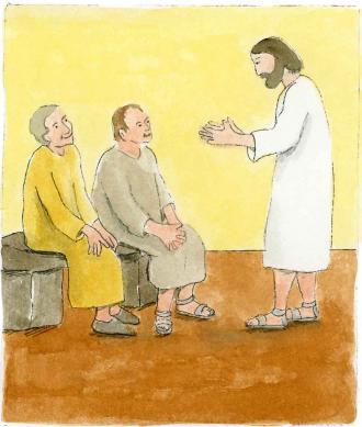 Jesus erklärt eine Bibel-Stelle.