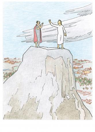 Der Teufel versucht, wie er Jesus hereinlegen kann.