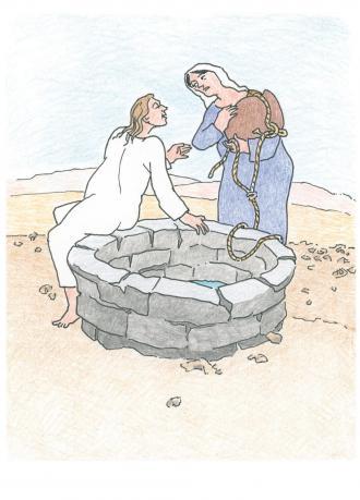 Jesus hat Durst und möchte Wasser trinken.