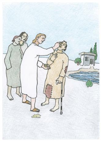 Jesus macht einen blinden Mann gesund.