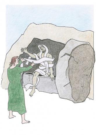 Jesus macht seinen Freund Lazarus wieder lebendig.
