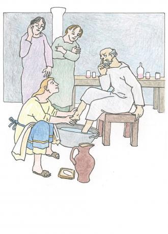 Jesus wäscht die Füße von seinen Freunden