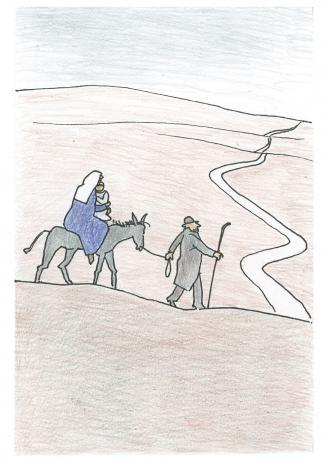 Josef und Maria müssen mit Jesus flüchten.