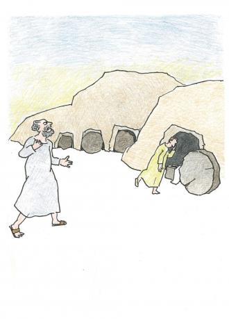Johannes sieht, dass Jesus auferstanden ist.