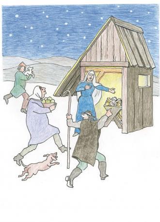 Die Hirten rannten schnell zum Stall nach Betlehem.