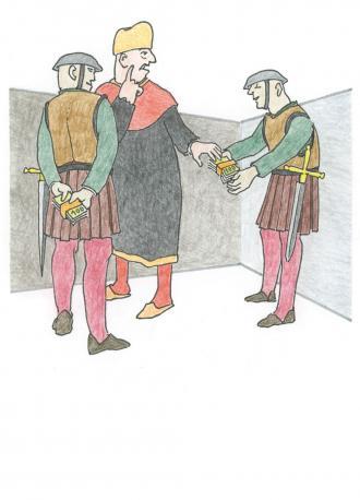 Die Hohen-Priester geben den Soldaten Geld