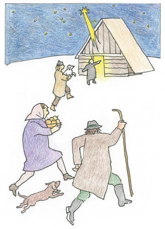 Die Hirten sehen, dass Jesus geboren ist.