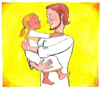 Jesus nimmt ein Kind auf seine Arme