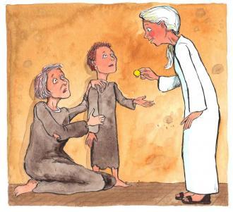 Eine arme Frau schenkt ihr Geld an arme Menschen