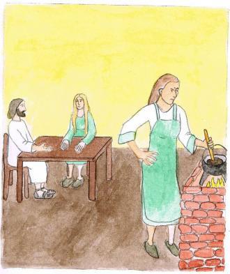 Marta machte in der Zwischen-Zeit das Essen fertig. Das war viel Arbeit.