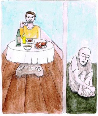 Lazarus saß den ganzen Tag  draußen vor  dem Haus von dem reichen Mann.