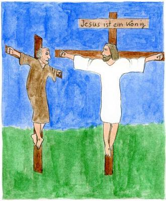 Jesus stirbt am Kreuz.