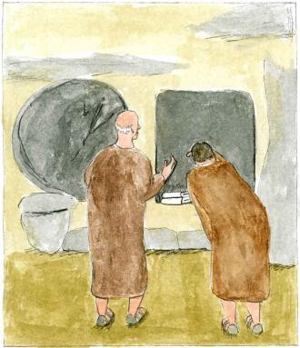 Petrus und ein anderer Freund von Jesus sehen, dass Jesus nicht mehr im Grab ist.