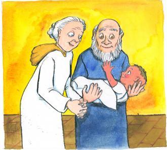 Simeon und Hanna freuen sich über Jesus.